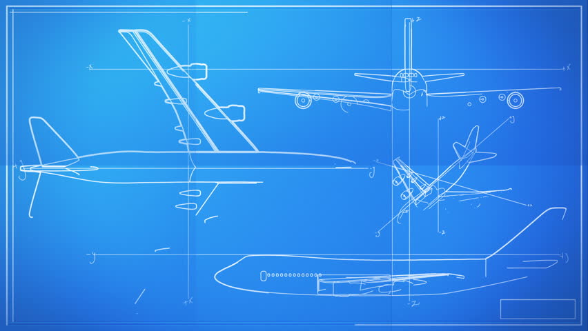 Aircraft Technical Drawing Blueprint Time Lapse - HD stock video clip