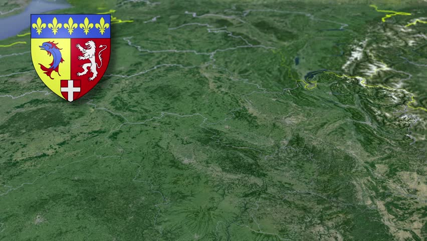 Rhone-Alpes whit Coat of arms animation map Regions of France