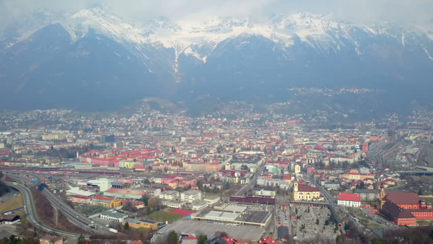 Spectacular panorama of city Innsbruck and Nordkette Mountain Range in Austria