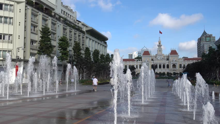 Ho Chi Minh City, Vietnam - September 22, 2015: the illuminated fountain on Nguyen Hue Pedestrian Street in District 1 erupts hourly. The fountain was completed in 2015.