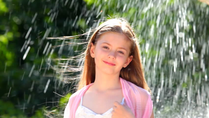 Little Girl And Water Drops Stock Footage Video 1201858