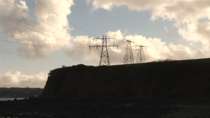 Electricity Pylons - HD stock footage clip