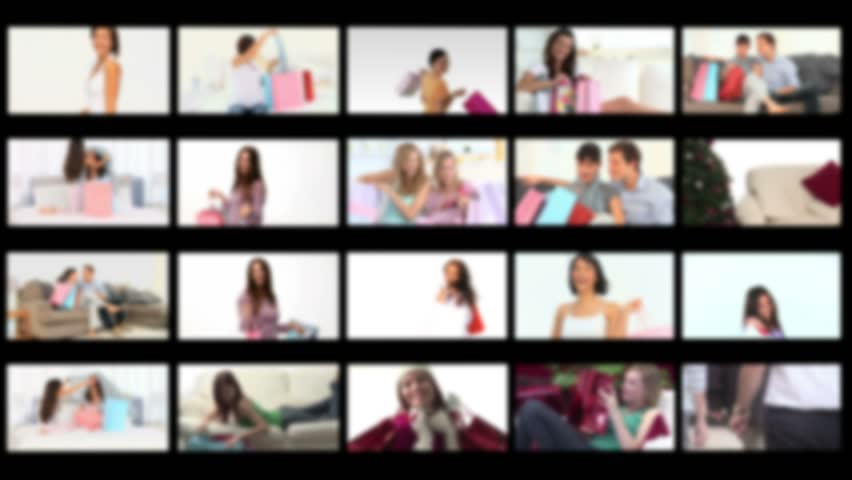 Montage of people happy having done their shopping - HD stock footage clip