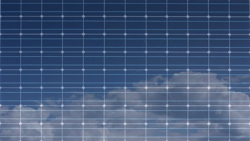 Panels Of Solar Power Plant Front View Zoom Out Stock