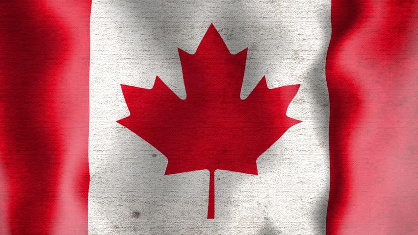 A worn grunge national canadian flag waving. | Shutterstock HD Video #1211635