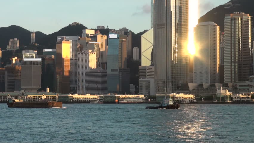 Hong Kong skyline with a reflection from a skyscraper. | Shutterstock HD Video #1215505