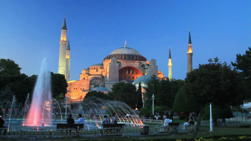 Sultanahmet night on front of Hagia Sophia   - HD stock footage clip