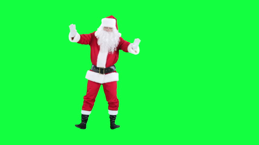 Reeling drunk Santa Claus chroma key (green screen). Santa's dizzy isolated on green