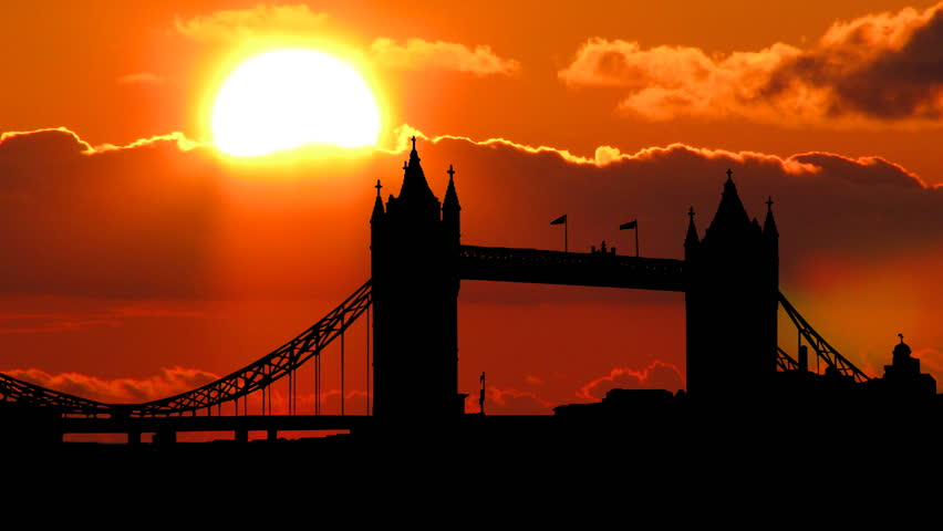 London Tower Bridge with a beautiful cloudy sunset in the background. | Shutterstock HD Video #1230157