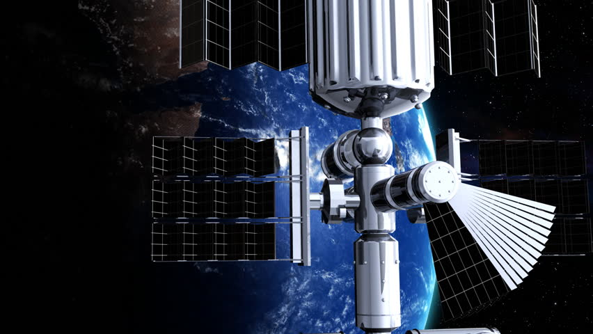 Zoom out from Earth to orbit. Flying around the satellite  - HD stock footage clip