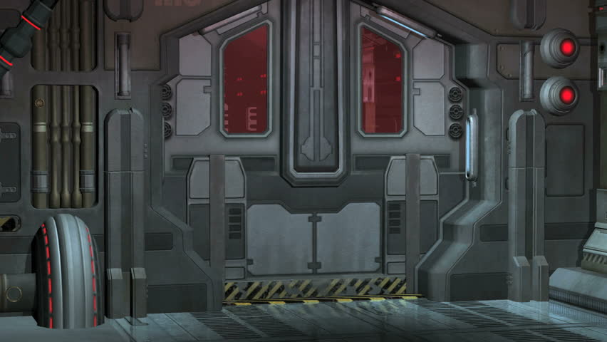 Spaceship, Space station HD animation. Doors opening, moving through corridor,, final door opens to green screen