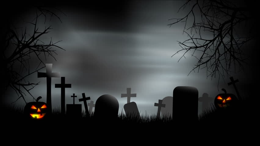 A creepy graveyard halloween background scene with graves, evil pumpkins and spooky sky. - HD stock video clip