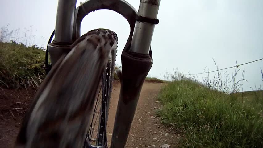 Mountain biking. On-board camera front.