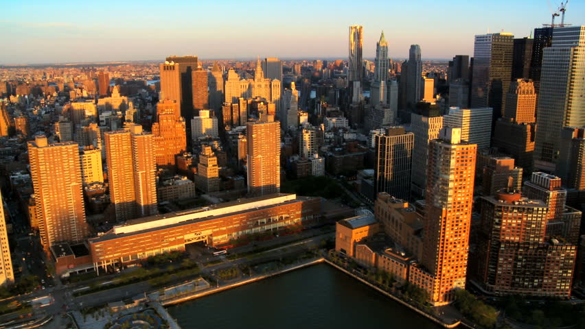 Aerial Fly though view of Manhattans Financial Business Quarter at Sunset, New York City, North America, USA #1279972