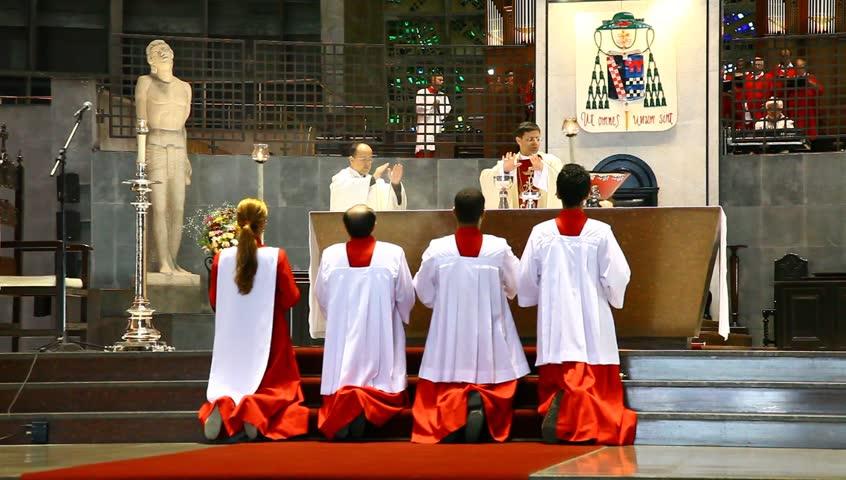 RIO DE JANEIRO BRAZIL - JUNE 19: Sunday Mass at Cathedral Sao Sebastian, patron of the city and the seat of the archbishop of Rio de Janeiro June 19, 2011. - HD stock footage clip