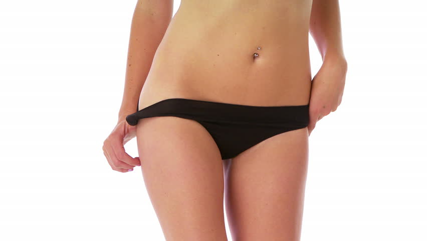 Young fit woman in black underwear - HD stock footage clip