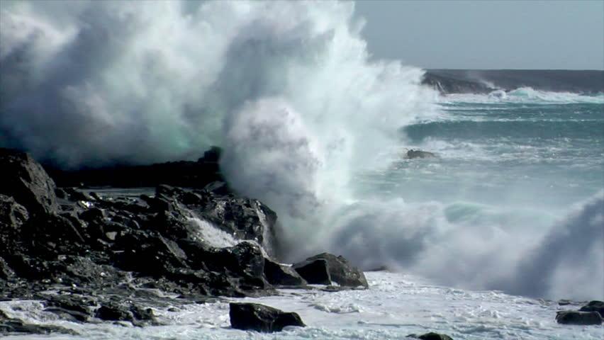 extreme wave crushing coast slowmo