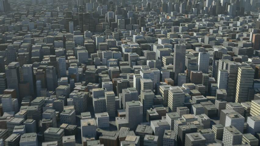 flight over 3d city - high quality 3d animation
