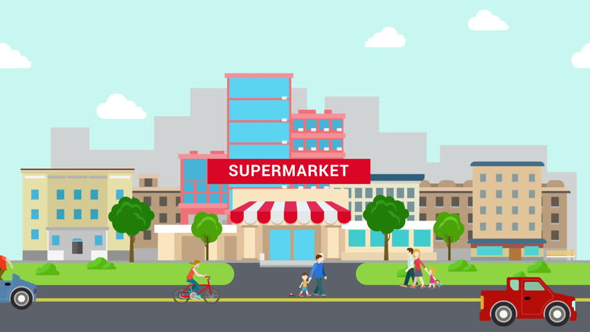 flat style cartoon supermarket mall building and transport