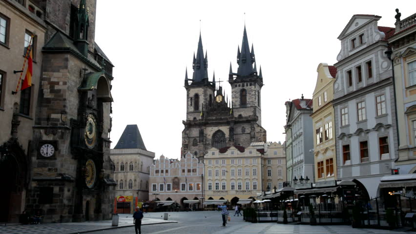 PRAGUE, CZECH REPUBLIC - AUGUST 20. The Old Town Square in Prague with the famous clock at 6 o'clock in the morning on August 20, 2011.  - HD stock footage clip