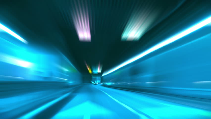 Driving through tunnel, abstract with motion blur and glow. - HD stock footage clip