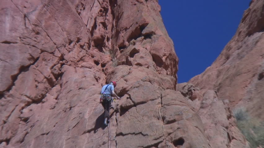 Cu Rock Climber Tying Rope Stock Footage Video 1563835