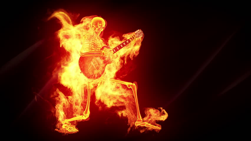 Fiery skeleton with a guitar - HD stock video clip