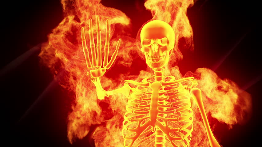 Scary Skeleton Demon Horror Clip. Stock Footage Video