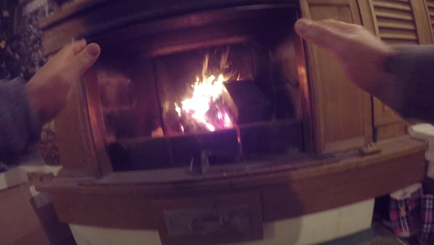Warm fireplace - 4K stock video clip