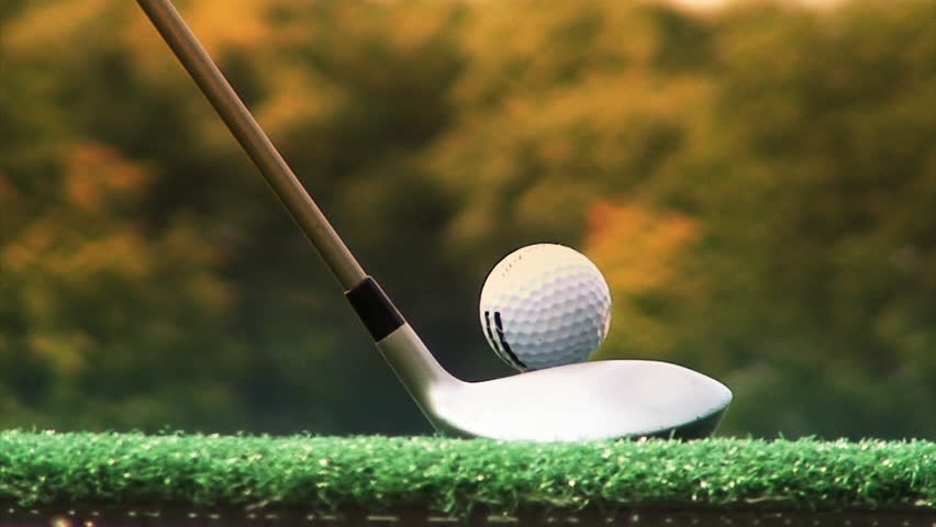 closeup of golf ball and swing - HD stock video clip
