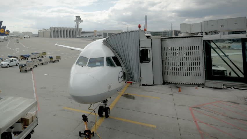 FRANKFURT, GERMANY - MAY 23  (Timelapse View) Boarding of a plane and depatch to