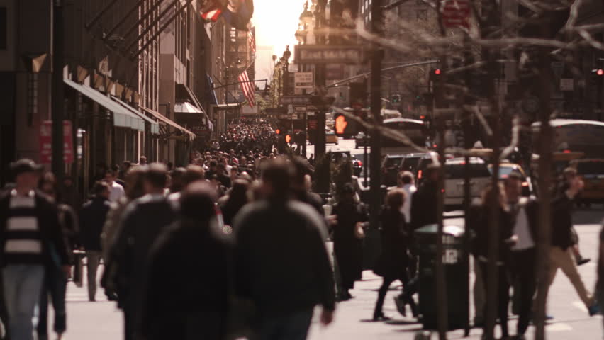 Crowded street. New York City. US. People walking in busy street of Manhattan.