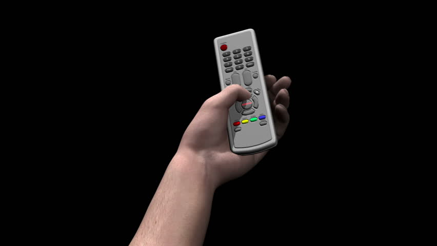 Male hand holds remote control and presses a button marked STREAM
