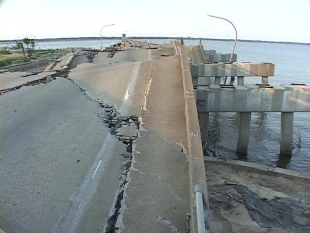 Hurricane Katrina destroys a causeway. - SD stock video clip