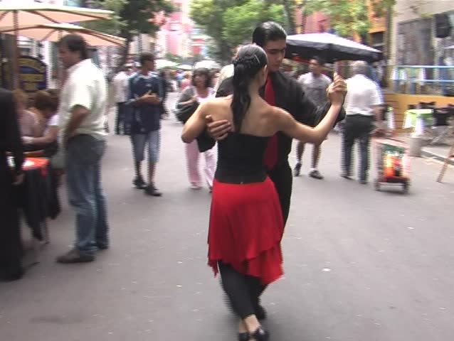 Street Tango, performed by a young argentine couple in La Boca, Buenos Aires - DV 4:3, Panasonic NV-GS 500 (3 CCD) - SD stock video clip