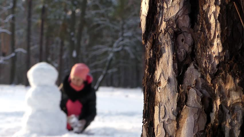The girl makes snowman in winter in the woods. Focus on the twig in the foreground. In the background out of focus is girl with snowman. Action in real time. - HD stock footage clip