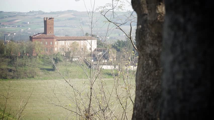 Italian landscape in the region of Piedmont, with a house castle in the background, distant hills and trees in the foreground, with a change of focus on them