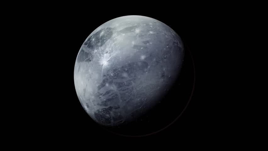 The planet Pluto rotates in black space. - HD stock footage clip