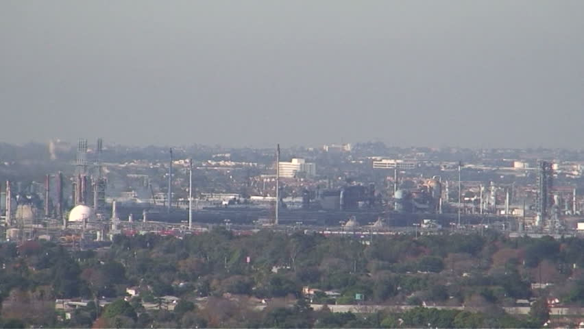 Panorama of Long Beach cityscape & oil refineries - HD stock footage clip
