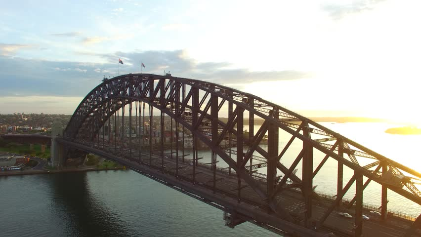 Sydney Harbour Bridge in Sydney at sunrise, aerial view | Shutterstock HD Video #14310073