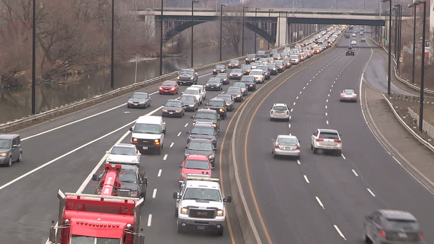 Toronto, Ontario, Canada February 2016 Toronto traffic jam and gridlock on the Don Valley Parkway by don river  - HD stock footage clip