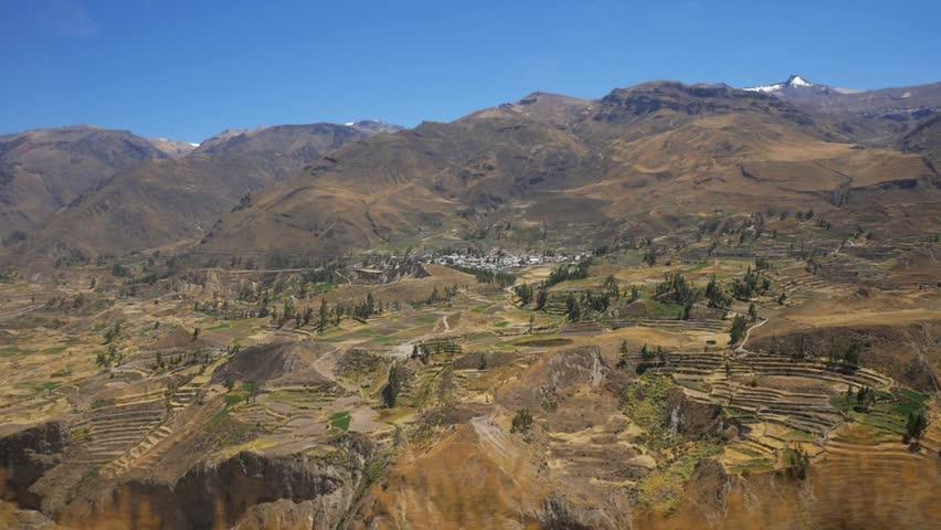 Amazing landscape in Peru shot from a bus window in slow motion
