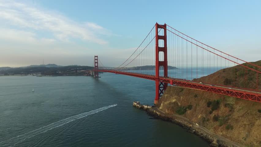 Golden Gate Bridge in San Fransisco, California, aerial shot - 4K stock footage clip