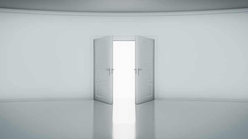4K Door Opening with white background (alpha matte). You can replace background. - 4K stock footage clip