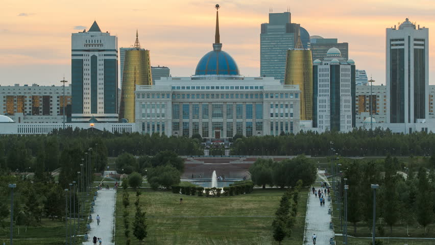 Panorama of the Astana city day to night timelapse and the president's residence Akorda with park #14564782