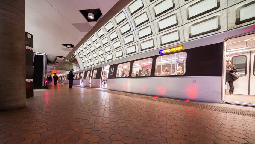 WASHINGTON DC - FEB 19: Timelapse view over the metro urban railway system or metrorail which is the second-busiest rapid transit system in the United States on 19 February 2014 in WASHINGTON DC, USA - HD stock video clip