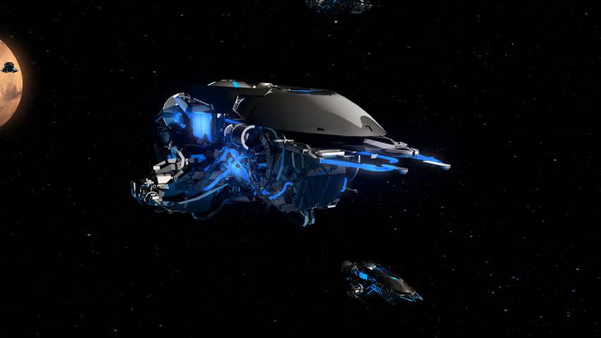 Alien space fleet approaching to the Earth