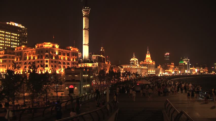 SHANGHAI - CIRCA 2011: Timelapse nightfall on the city landscape  circa 2011 in Shanghai - HD stock footage clip