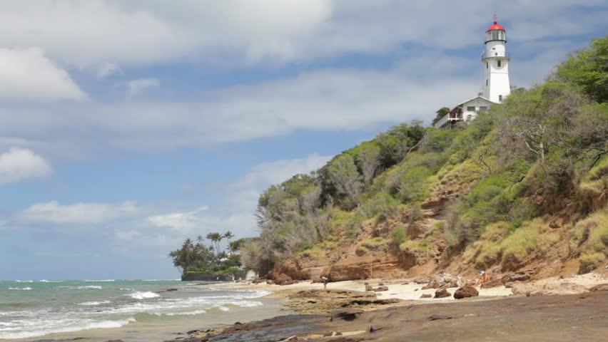Diamond Head Lighthouse from Diamond Head Beach Park, southeast of Waikiki on Oahu, Hawaii. - HD stock footage clip