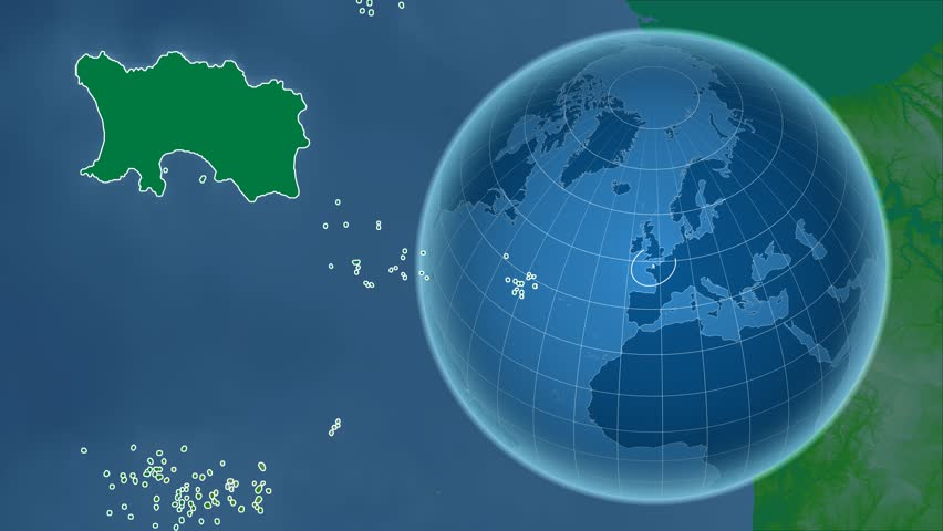 Jersey shape animated on the physical map of the globe | Shutterstock HD Video #14650435